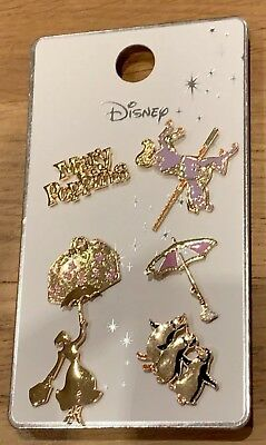 Primark Official Disney Mary Poppins Metal Badge Pins Set Of 6 BNWT