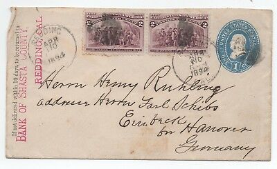 1894 Cover Usa Redding California  To Germany