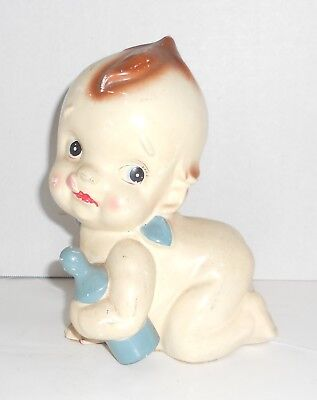 Vintage Tilso Japan Ceramic Crawling Kewpie Baby with Blue Bottle Coin Bank