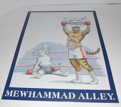 Vintage 1996 Cat Hall of Fame Mewhammad Alley Muhammad Ali Tin Sign  Boxing