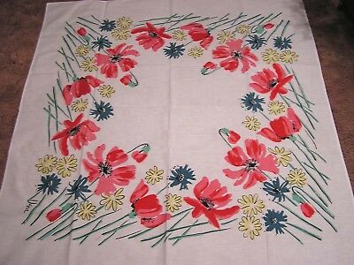 Vintage Tablecloth VERA PINK Yellow Blue Daisies Poppies