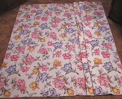 "Vintage Tablecloth Magnolias Poppies Spring Flowers Red Blue 60"" X 72"""