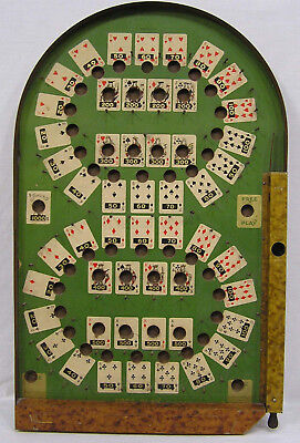 Vtg Lindstrom Bagatelle Game Fortune Telling 1934 Playing Card Imagery ManCave