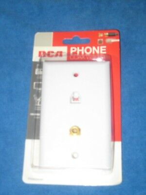 RCA TP062WHR Telephone Phone Coax Wall Jack Plate, White, New!