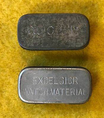 (lot of 2) vintage Watch part advertising Tin Containers - Excelsior & Quick Fit