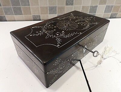 Antique Anglo Indian Inlaid Ebony Monghyr Box From Bengal Circa 1850- Lock & Key