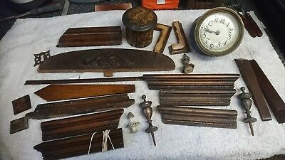 Antique  wooden clock case mouldings parts for spares restoration movement