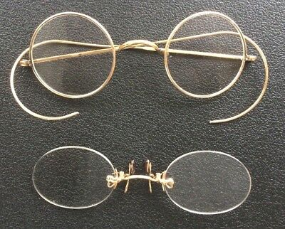 Two Pairs Vintage Gold Plated Glasses Spectacles