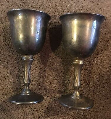 Pair Silver Plated Grenadier Wine Goblets