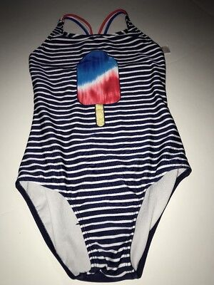 e3012398c826e NEW CAT AND Jack Girls Size L 10-12 Red White & Blue One Piece Swim ...