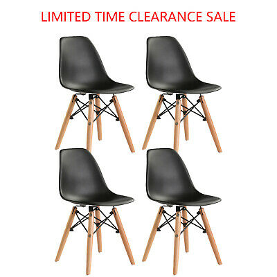 Set of 4 Dining Chair Pre Assembled Modern Style DSW Chair(Black)