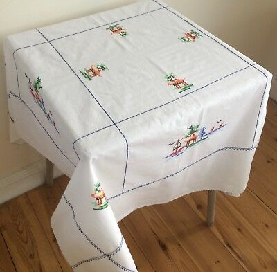 Pretty Vintage Hand Embroidered Cross Stitch Small Tablecloth