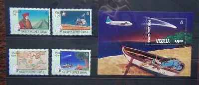 Anguilla 1986 Appearance of Halley's Comet set & Miniature Sheet MNH