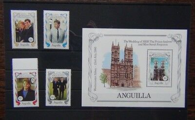 Anguilla 1986 Royal Wedding set & Miniature Sheet MNH