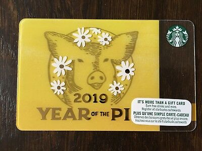 "Canadian Starbucks ""YEAR OF THE PIG 2019"" Gift Card - New No Value"