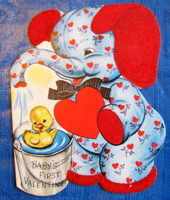 Baby's First Valentine Flocked Elephant Showering Duck Vintage Greeting Card