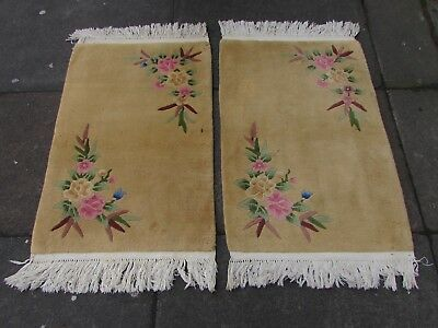 Pair of Antique Hand Made Art Deco Chinese Oriental Beige Wool Rugs 94x62cm
