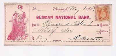 German National Bank. May 1, 1865.  Pittsburgh, Pa.