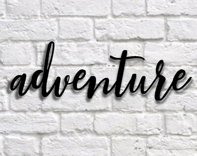 Adventure metal sign,  Metal Wall Hanging adventure word sign, Calligraphy Sign