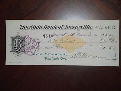 State Bank of Jerseyville. Nov. 3, 1900. Jerseyville, Ill.