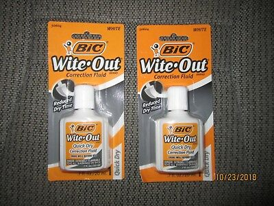 2x BIC Wite/White Out Quick Dry Correction Fluid White Out Foam Brush .7 oz