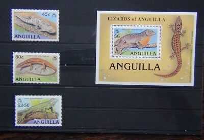 Anguilla 1989 Lizards set & Miniature sheet MNH