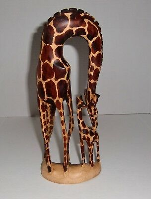 """Giraffe Mother & Baby Calf Wooden Hand Carved in Kenya 12"""" Tall Statue Figurine"""