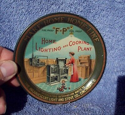 Advertising Tin Litho Tip Tray, Incandescent Light & Stove Co.