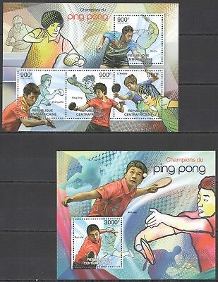 B340 2012 Central Africa Sport Table Tennis Champions Ping Pong 1Kb+1Bl Mnh