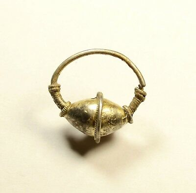 Stunning Ancient Byzantine Silver And Gilded Earring - Rare Artifact