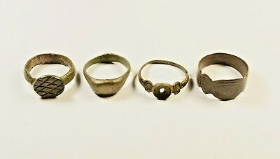 Lot Of 4 Roman / Post Medieval Decorated Wearable Rings - Great Artifacts