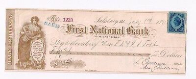 First National Bank. Milford, Del. July 8, 1881. Salisbury, Md.