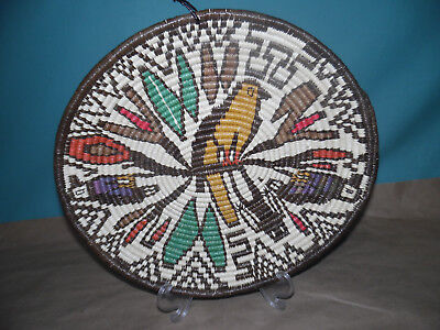 "12"" Panama 1980's Wounaan Embera Tribe Woven bird & flowers plate Basket art"