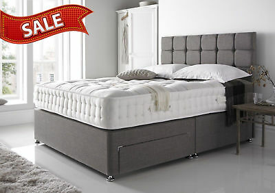 Grey Suede  - Divan Bed Base - Small Double King  - Drawers Storage - Headboard