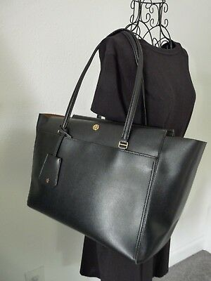 6ec39a86e1c Tory Burch Parker Large Leather Zip Top Shoulder Bag Tote Black Cardamom