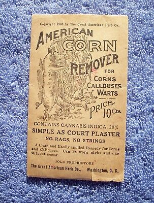 American Corn Remover Envelope, Contained 20% Cannabis Indica