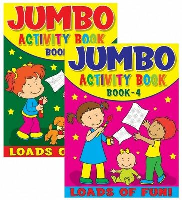 2 x JUMBO CHILDRENS KIDS PUZZLE COLOURING ACTIVITY FUN BOOKS DOT TO DOT UK 3 & 4