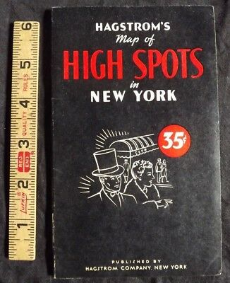 1950 Vintage Hagstrom's Foldout Map - High Spots in New York City - Sights Guide