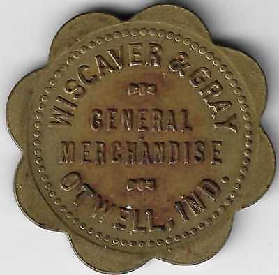 Otwell Indiana Wiscaver & Gray General Merchandise Good For Token