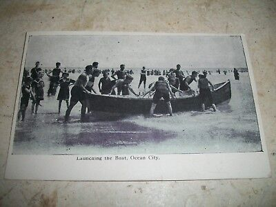 Vintage 1907 Photo postcard Launching The Boat Ocean City maryland OC Md
