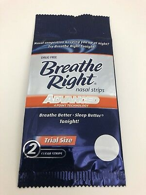 Breathe Right Nasal Strips Advanced 4 Point Technology 10 - 2 Packs Clear Nose