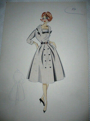 ITALIAN FASHION SKETCH 50/60 YEARS HAND PAINTED Croquis Figurino moda Vintage