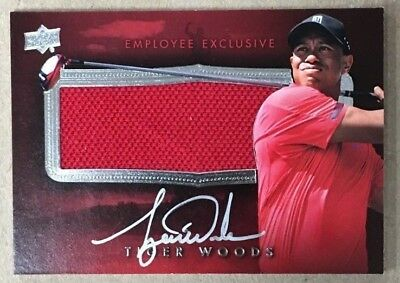 Tiger Woods Sig 2014 Upper Deck Employee Exclusive Patch On Card Autograph Card