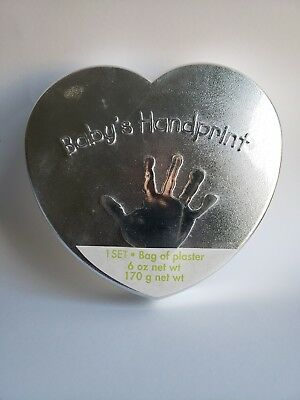 Baby's Handprint Plaster Hand Mold Kit with Easel - Heart Tin