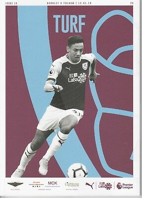 Burnley v Fulham Programme - 18/19 Premier League - Free UK P&P