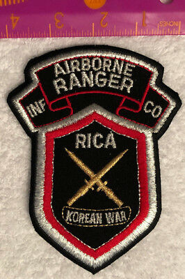 """Airborne Ranger Infantry Co RICA Korean War Patch 5"""" tall Military"""