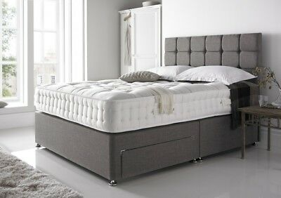 New Chenille Divan Bed Base - Storage Drawers - Cube Headboard - Double - King