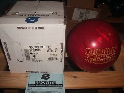 """Ebonite Source Red """"P"""" Overseas 15lbs New Undrilled Great Box Spec's & Rare Find"""