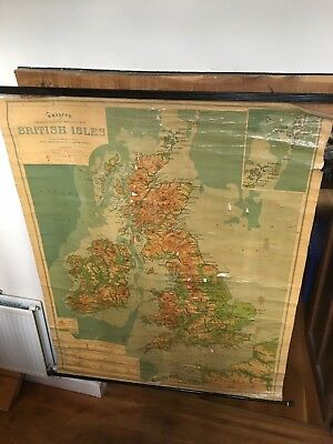 Large Vintage Philips School Map Of The British Isles.