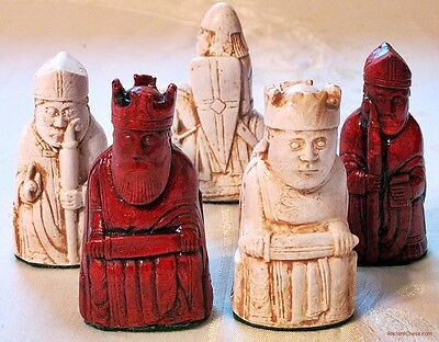"""ISLE OF LEWIS CHESS MEN - HAND CAST COLLECTORS' SET - K= 3.5"""" (rosewood) 706 new"""